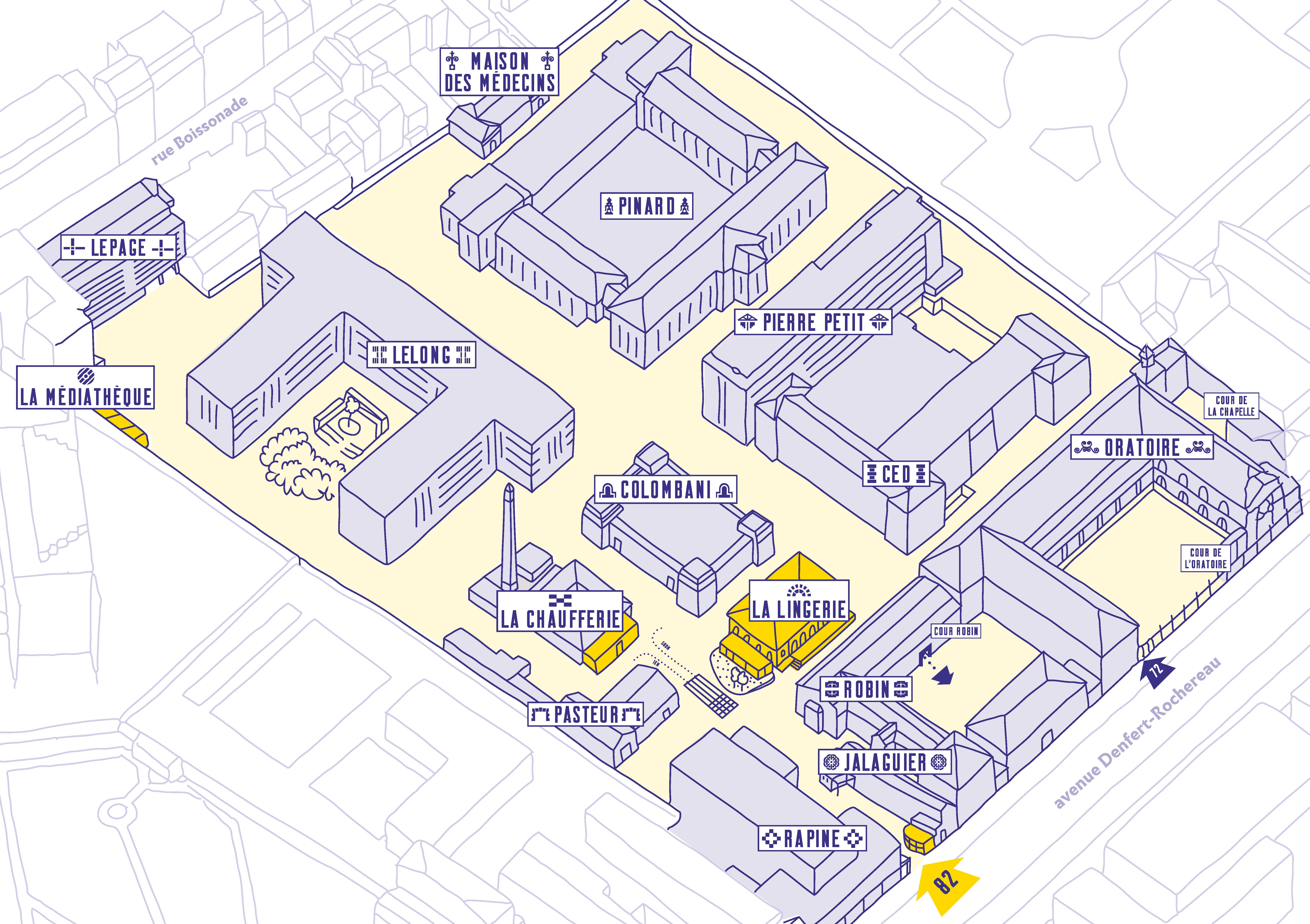 Plan général des bâtiments des Grands Voisins - crédit : Yes We Camp